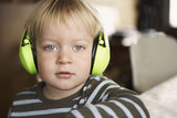 Boy wearing Headphones, portrait