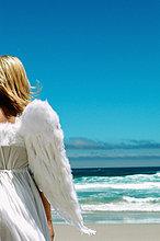 Angel am Strand
