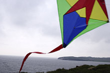colourful Drachen in Wind am Meer