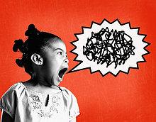 Mädchen (6-8) schreien (digitale Composite)