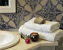 Badezimmer,Handtuch,Close-up,gefaltet