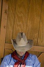 Schrägansicht,schräg,ruhen,über,Hut,Cowboy