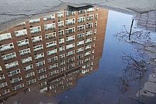 Pfütze mit Reflektion eines Gebäudes