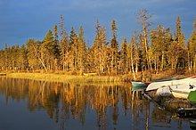 Lappland, Finnland, Pallas Yllastunturi National Park, Kesanki See im Herbst