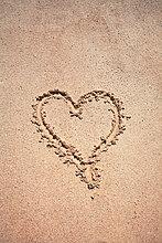 Liebesherz auf sand
