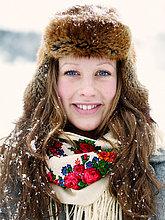Portrait einer Frau in Pelzmütze