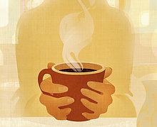 Nahaufnahme von Händen und einer dampfenden Tasse Kaffe