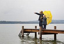 Regenschirm, Schirm ,gelb ,Dock
