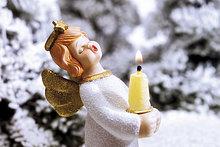 halten,Schnee,Wald,Kerze,Engel