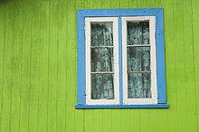 Fenster,grün,blau,beschneiden,Blockhaus,Holzhaus