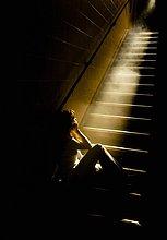 Beleuchtung, Licht ,Depression ,fließen ,Treppenhaus ,Mädchen