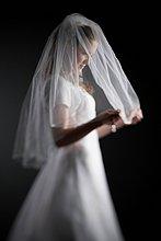 Profil, Profile ,Braut ,halten ,Schleier
