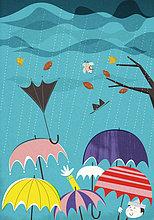 Bunte Regenschirme in Wind und Regen