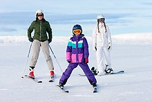 Skisport ,2 ,Tochter ,Mutter - Mensch