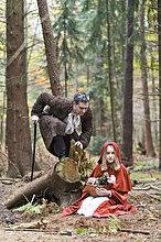 Wolf, Canis lupus ,Mann ,fahren ,rot ,Besuch, Treffen, trifft ,Maske ,Symbol ,Mädchen ,Kapuze