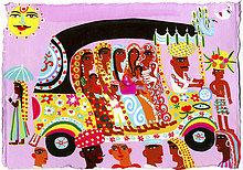 Frauen und Kinder reisen in exotischer Auto-Rikscha