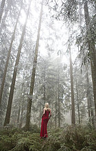 stehend,Frau,Abend,1,Holz,Kleidung,Kleid