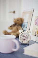 Muster,Blume,Nacht,Zimmer,Uhr,alarmieren,Tisch,Schnittmuster