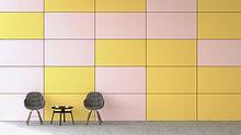 Farbaufnahme,Farbe,Wand,Stuhl,warten,frontal,2,Zimmer,Seitenansicht,Tisch,3D rendering