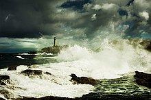 Großbritannien,Himmel,Sturm,Meer,Leuchtturm,Ansicht,zeigen,Ardnamurchan,Schottland