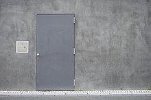 Wand,Tür,Beton,grau,Stahl