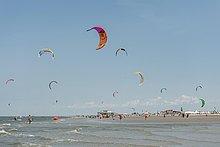 Kitesurfer, Pringle Kitesurf World Cup, Sankt Peter-Ording, Nordsee, Nordfriesland, Schleswig-Holstein, Deutschland, Europa