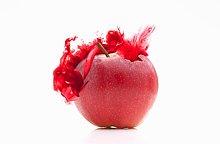 Farbaufnahme,Farbe,rot,spritzen,Apfel,schreiben,Konsequenz