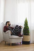 Interior,zu Hause,Mann,schlafen,Zeit,Weihnachten,Sessel