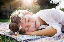 Blume,schlafen,Mädchen,rund