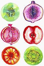 Sammlung von frischen halbierten Früchten