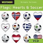 Internationale Fahnen, als Icons auf Fußball und Herzen