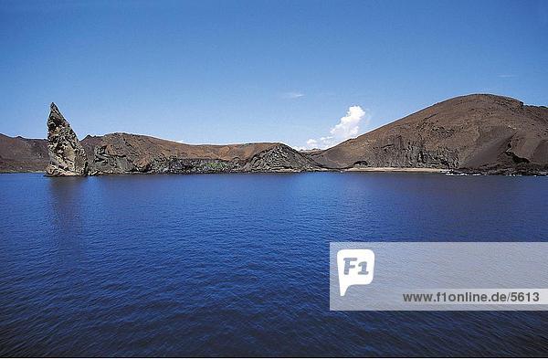 Sea with hills in background  Bartolome Island  Galapagos Islands  Ecuador