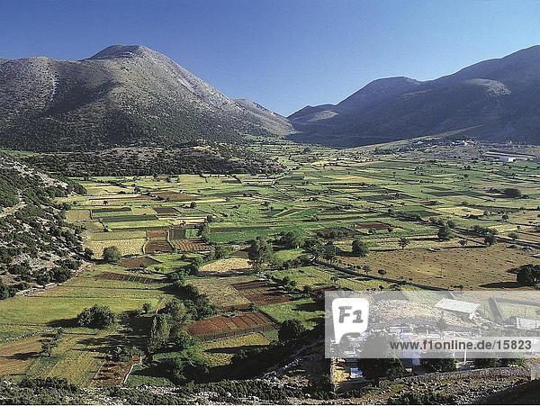 Betriebe mit Gebirge im Hintergrund  Askifou  Kreta  Griechenland