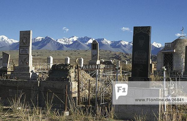 Tombstones in cemetery  Kirgistan