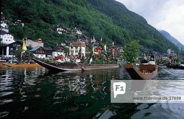 Boats in lake  Salzkammergut  Austria