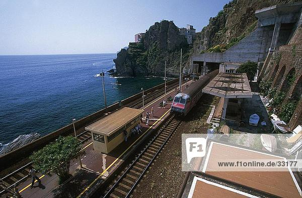 Railroad station on coast  Manarola  Cinque Terre  La Spezia Province  Liguria  Italy