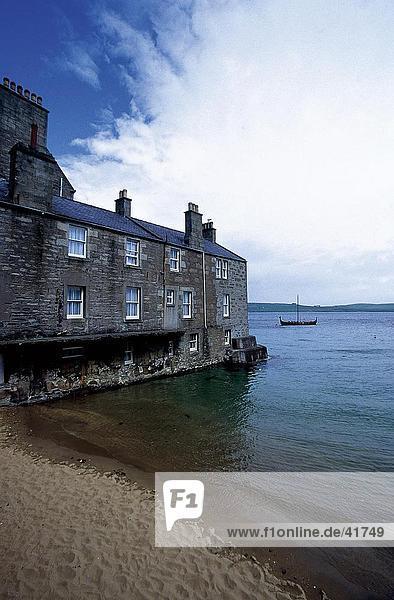 Aufbauend auf Küste  The Lodberries  Lerwick  Shetland-Inseln  Schottland