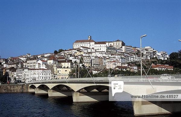 Bridge across river  Santa Clara Bridge  Mondego River  Coimbra  Lisbon  Portugal