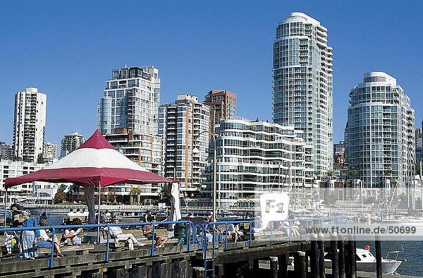 Buildings in city  Granville Island  Vancouver  British Columbia  Canada