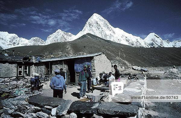 Berg Tourist Hintergrund Lodge Landhaus Himalaya Nepal