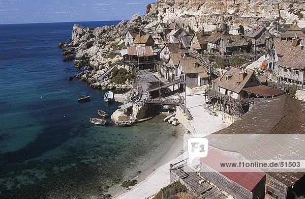Houses in village at coast  steep coast  Popeye Village  Malta
