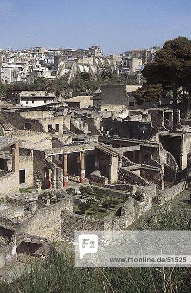 Old ruins of buildings  Herculaneum  Ercolano  Campania  Italy