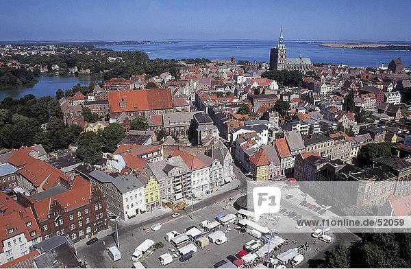 High angle view of town  Stralsund  Mecklenburg-Vorpommern  Germany
