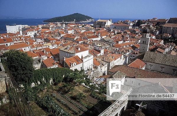 High angle view of town  Dubrovnik  Croatia