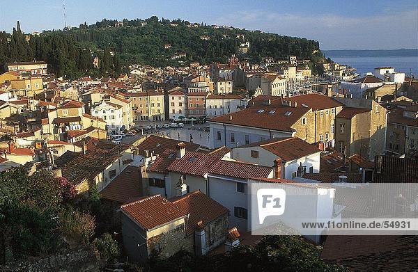 High angle view of town  Piran  Slovenia
