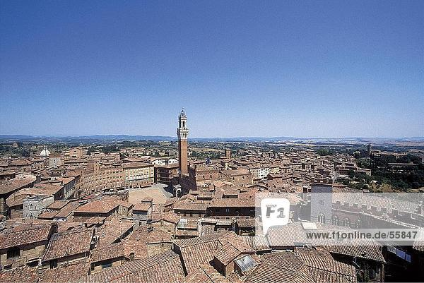 High angle view of city  Siena  Siena Province  Tuscany  Italy
