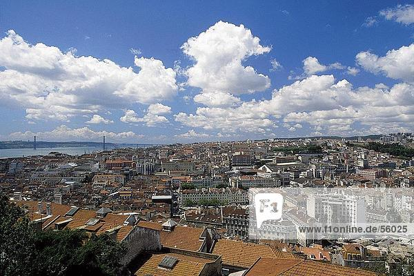 High angle view of cityscape  Lisbon  Portugal  Europe