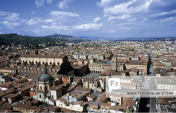 Aerial view of a city viewed from Torre Asinella  Piazza Mercanzia  Bologna  Emilia-Romagna  Italy