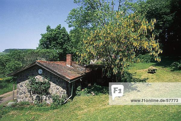 Wohnhaus Baum Landschaft nebeneinander neben Seite an Seite Hessen Deutschland
