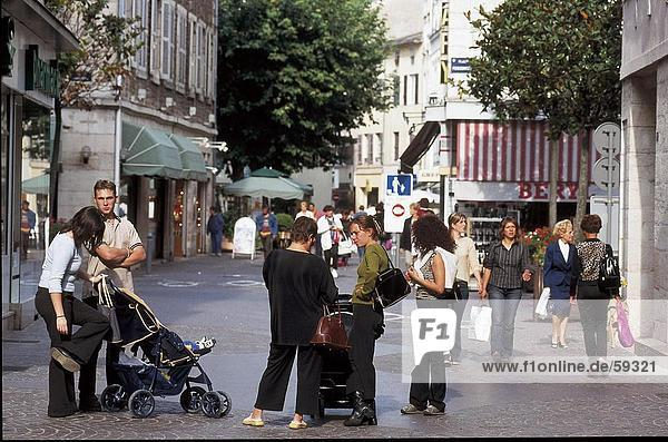 Tourists in street  Burgundy  France
